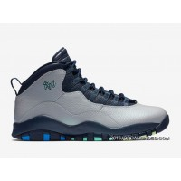 "2019 Latest Air Jordan 10 ""Rio"" Wolf Grey/Photo Blue-Obsidian-Green Glow"