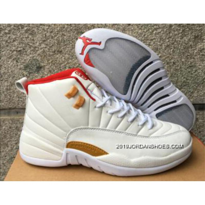 """f7f3bcb4515ce3 Air Jordan 12 """"CNY"""" White Red Gold Mens Basketball Shoes 2019 For Sale ..."""