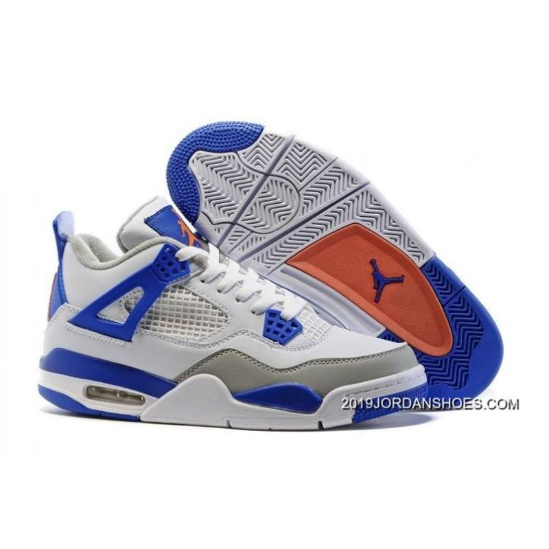 "new styles d479e e30ea 2019 Latest Air Jordan 4 ""Knicks"" White/Hyper Orange-Deep Royal Blue-Wolf  Grey"