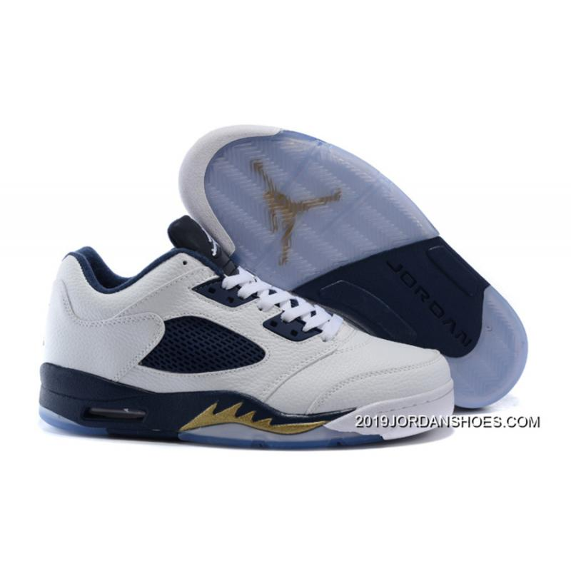 """pretty nice 3eb29 a0676 2019 New Style Air Jordan 5 Low """"Dunk From Above"""" White Metallic Gold ..."""