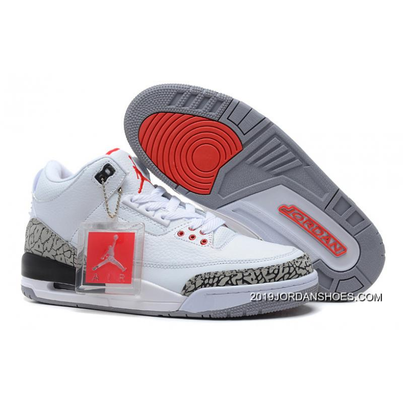 big sale 11625 1bb51 2019 Outlet Air Jordan 3 Retro  88 White Fire Red-Cement Grey- ...