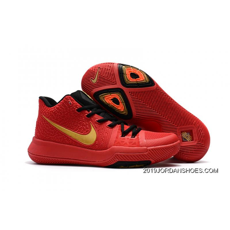 Girls Nike Kyrie 3 Red Black Gold Top Deals