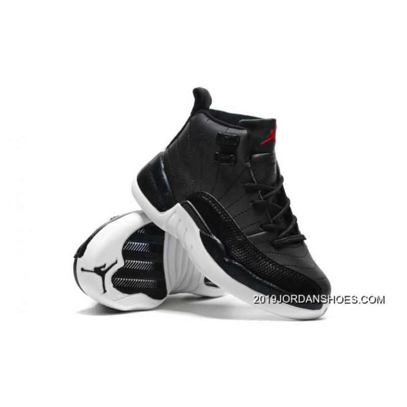 "release date: 6132b 190a6 2019 New Style Kids Air Jordan 12 ""Black Nylon"" Black/White-Gym Red"
