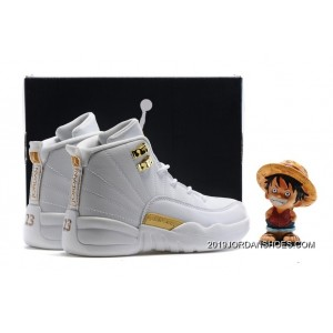 best service fc4d6 2cf1f Kids Air Jordan 12 All White Gold 2019 For Sale