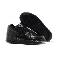 Nike Air Flight '89 All Black Leather Basketball Shoes 2019 Super Deals