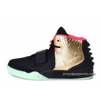"""2019 New Style Nike Air Yeezy 2 """"Imperial"""" Black Gold Glow In The Dark"""