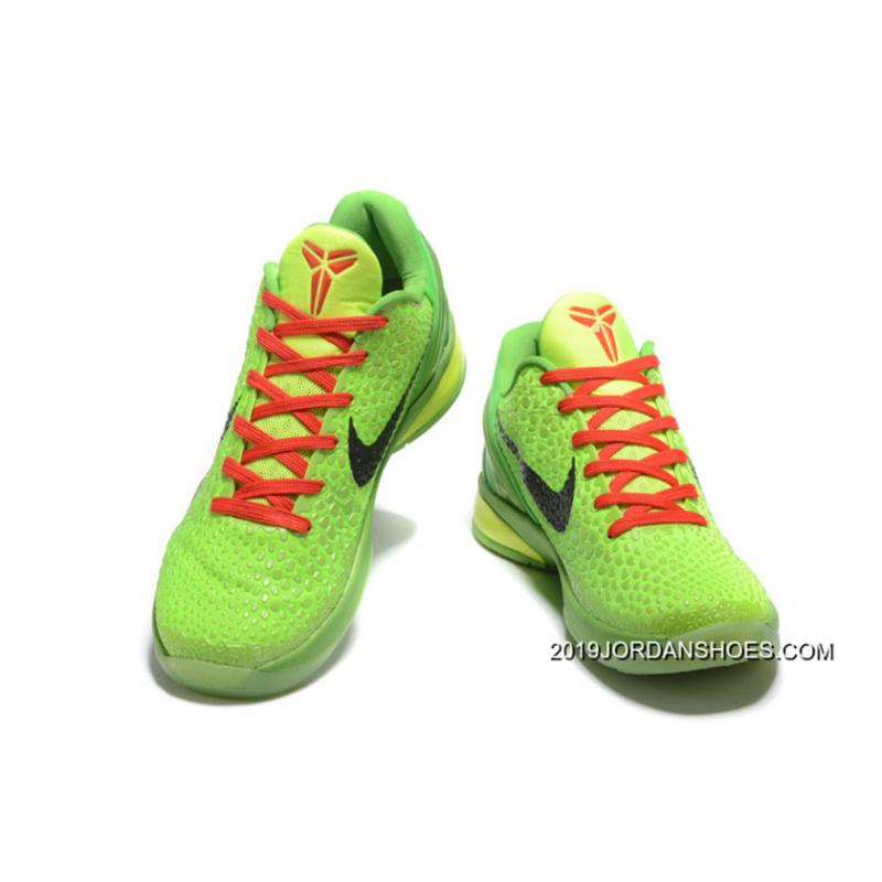 0c77d6453fe 2019 Top Deals Nike Zoom Kobe 6 Grinch Christmas Green Mamba Basketball  Shoes ...