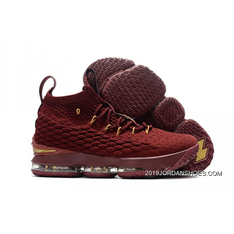 Nike LeBron 15 Wine Burgundy Gold Basketball Shoes 2019 Disc