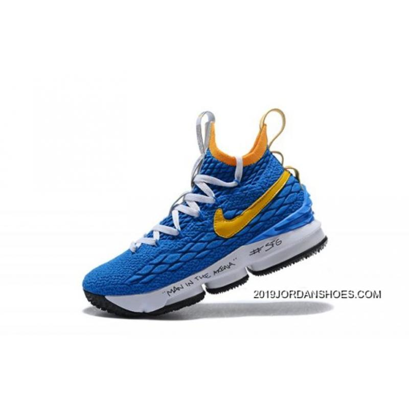"f9521363e40d Men s Nike LeBron 15 ""Waffle Trainer"" Blue Yellow Basketball Shoes Latest  ..."