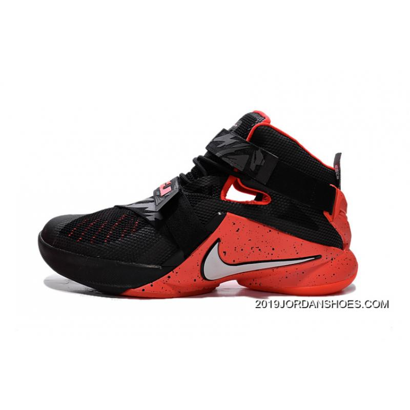 brand new 7c522 e4e98 2019 New Release Nike LeBron Soldier 9 Black Red Basketball Shoe