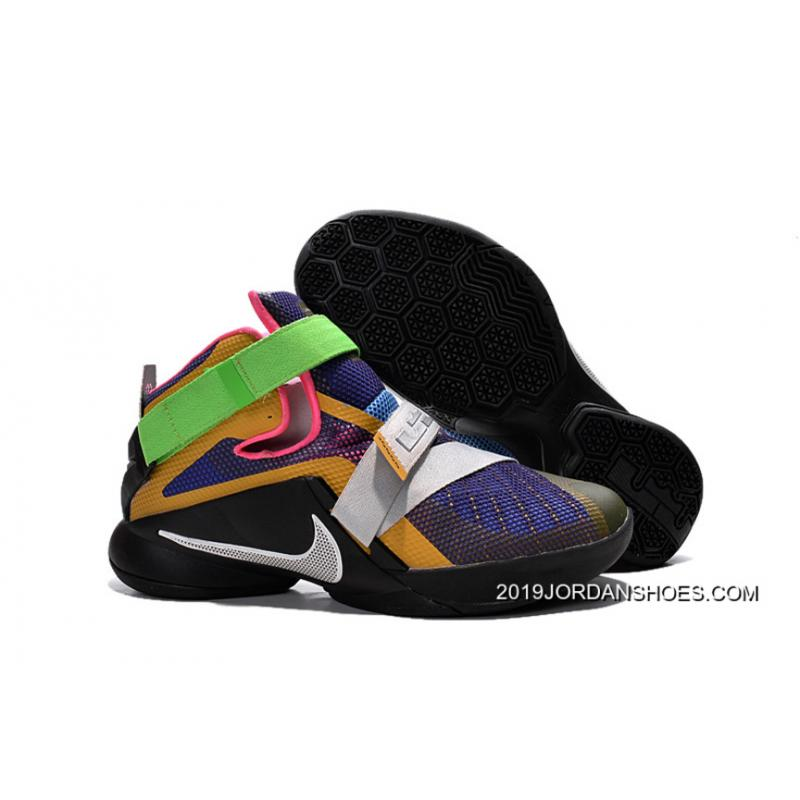 """3fd433385ee 2019 For Sale Nike LeBron Soldier 9 """"What The LeBron"""" Multi Color Black ..."""