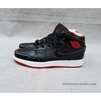 Air Jordan 1 Black Red Mid Top MID Action Leather Women Shoes New Year Deals