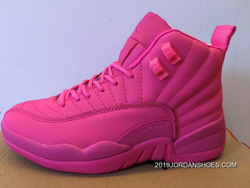 f7d58853aedb67 2019 New Style Air Jordan 12 GS All Pink Shoes