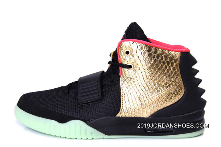 "ec6719a06600a 2019 New Style Nike Air Yeezy 2 ""Imperial"" Black Gold Glow In The Dark"
