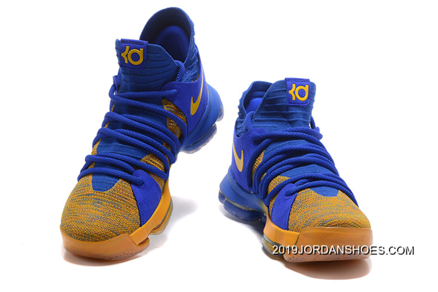 "huge selection of 20237 79791 Nike KD 10 ""Warriors Away"" Royal Blue-Yellow Outlet"