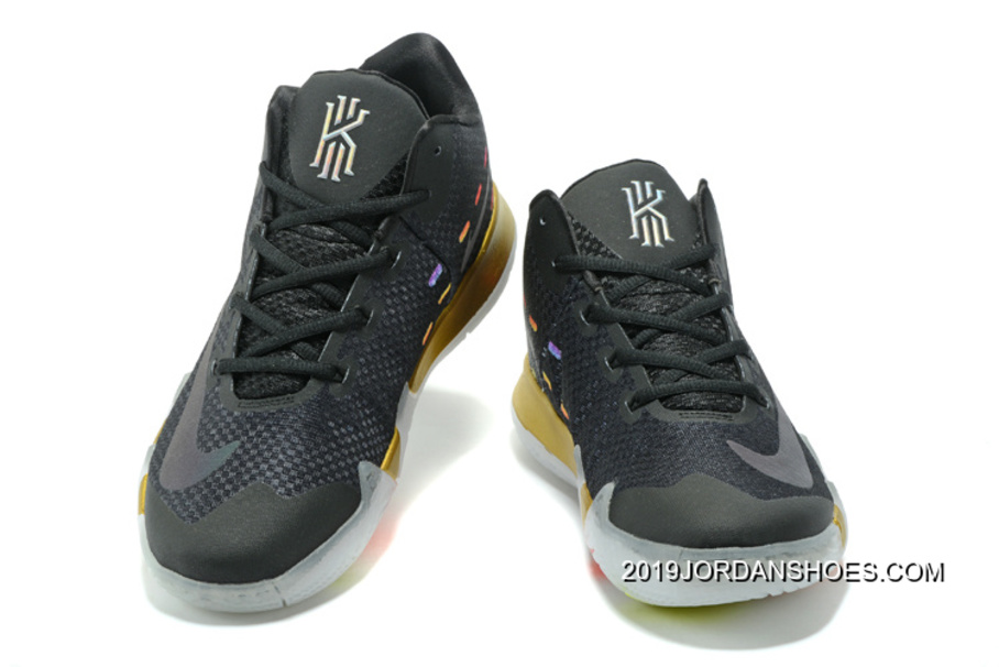 """a074484d60c42 Nike Kyrie 4 """"Multicolor"""" Black Gold White New Year Deals"""