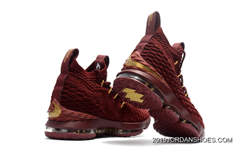 8587bbea15a2 Nike LeBron 15 Wine Burgundy Gold Basketball Shoes 2019 Discount ...