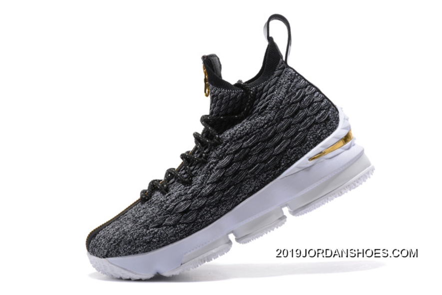 """17f658363a29 2019 Outlet Nike LeBron 15 """"Ashes"""" Zipper Black Gold White Shoes ..."""