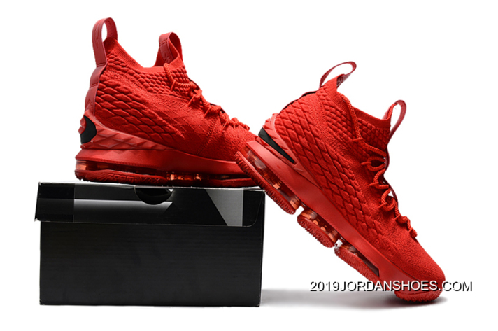 26bef31391af4b Men s Nike LeBron 15 Ohio State PE All-Red Basketball Shoes New Year Deals
